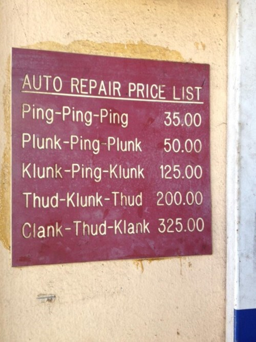 monday thru friday,sign,repair,price,cars,g  rated