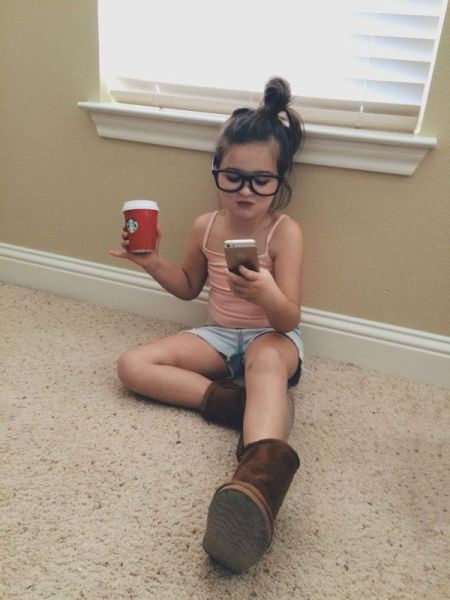 glasses boots coffee kids phone parenting - 8392111616