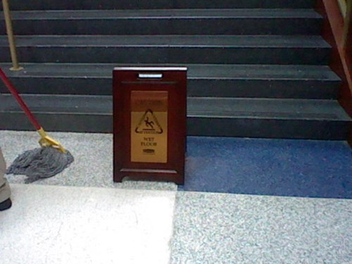 Fanciest Wet Floor sign ever