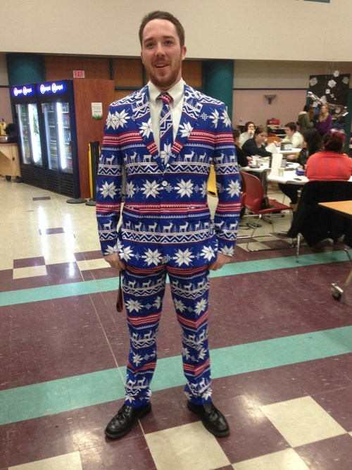 Ugly Christmas Sweater Suits Have Been Spotted in the Wild!