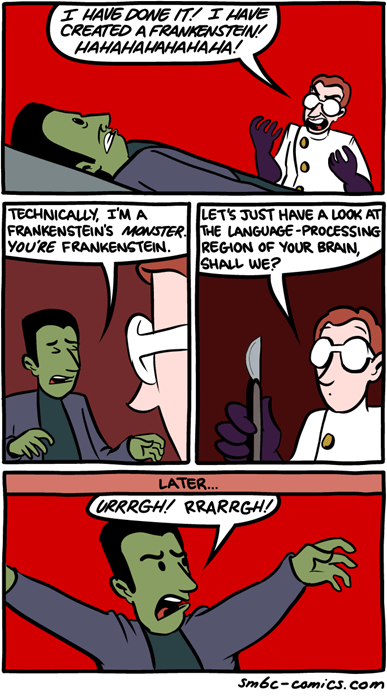 language,frankenstein,sad but true,web comics