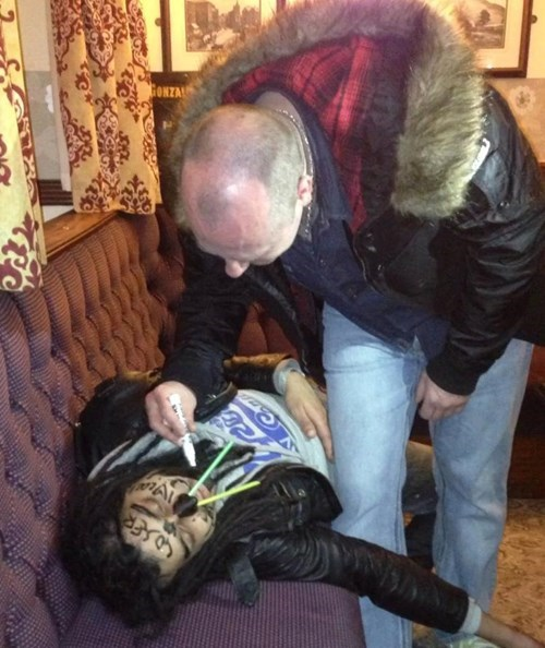 drunk passed out pub funny - 8394113024