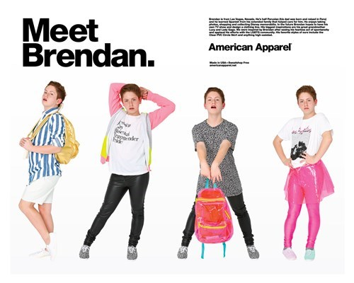 Diva Kid, american apparel, Brendan Jordan, model,
