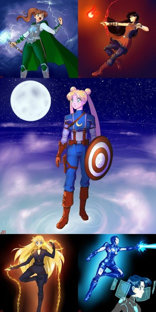 crossover anime Fan Art sailor moon avengers - 8396044288