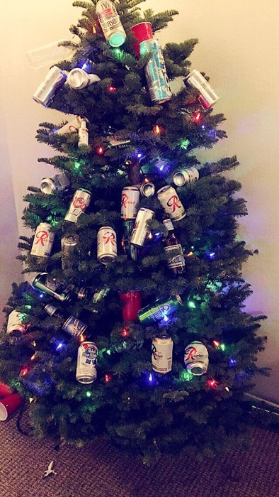 christmas,christmas tree,ornaments,beer cans,funny,after 12,g rated