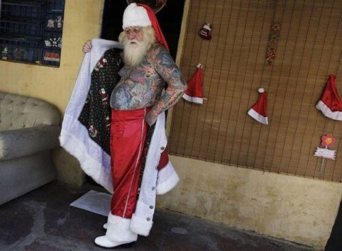 christmas,bikers,tattoos,santa claus