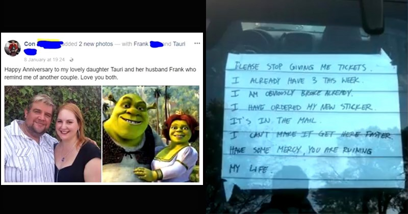 bad day, unfortunate, parent comparing their daughter and son-in-law to shrek and fiona, note from person who got 3 parking tickets in a week