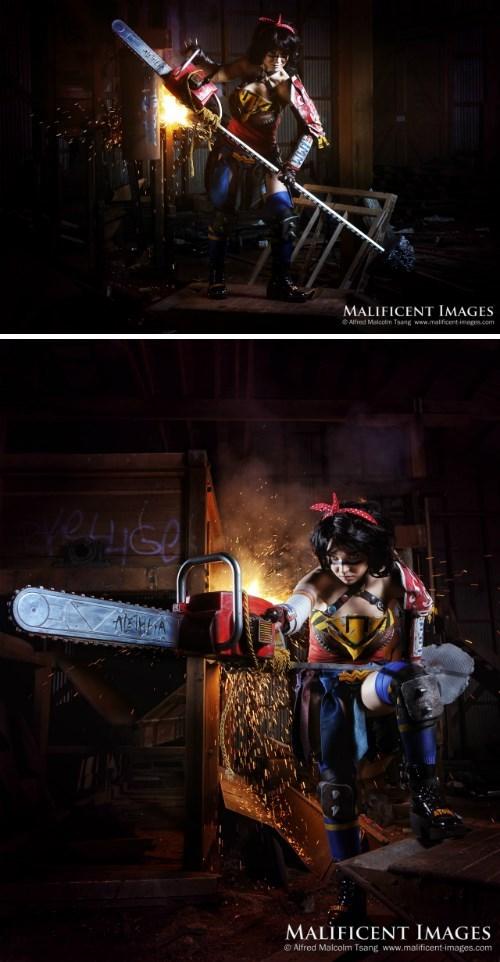 cosplay,chainsaw,wonder woman,post apocalyptic,BAMF