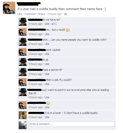 forever alone TMI Oversharing facebook cuddling