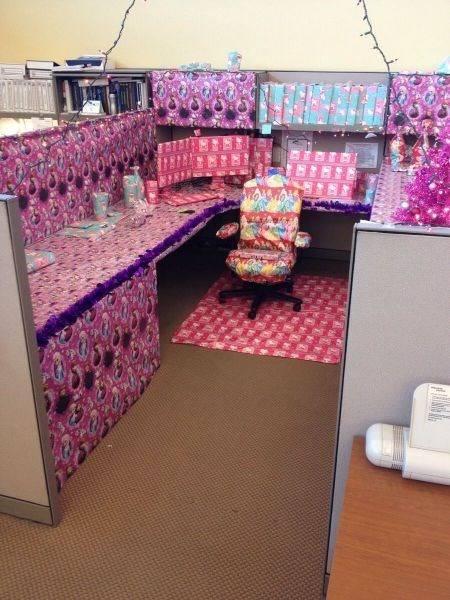 monday thru friday,wrapping paper,cubicle prank,disney princesses,hello kitty,prank,frozen,cubicle
