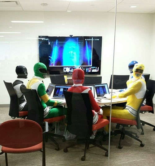 monday thru friday,power rangers,costume,meeting