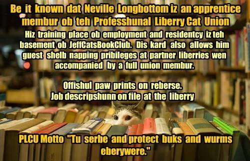 """Be it known dat Neville Longbottom iz an apprentice membur ob teh Professhunal Liberry Cat Union Hiz training place ob employment and residentcy iz teh basement ob JeffCatsBookClub. Dis kard also allows him guest shelb napping pribileges at partner liberries wen accompanied by a full union membur. Offishul paw prints on reberse. Job descripshunn on file at the liberry PLCU Motto """"Tu serbe and protect buks and wurms eberywere."""""""