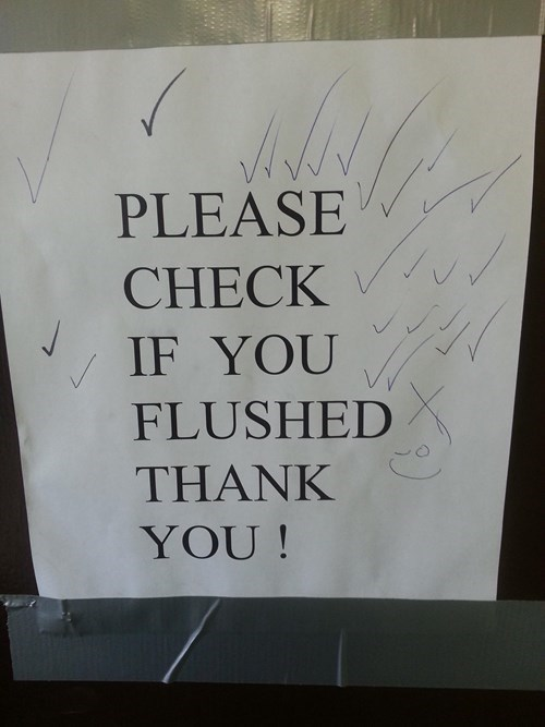 monday thru friday sign flush bathroom toilet