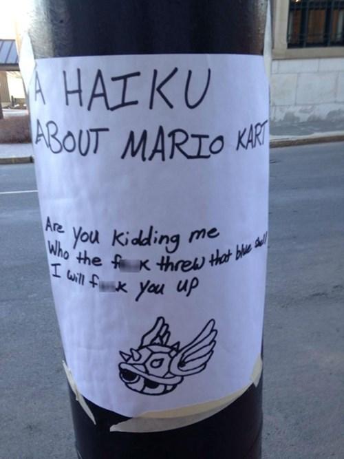 rage,blue shell,Mario Kart,haiku