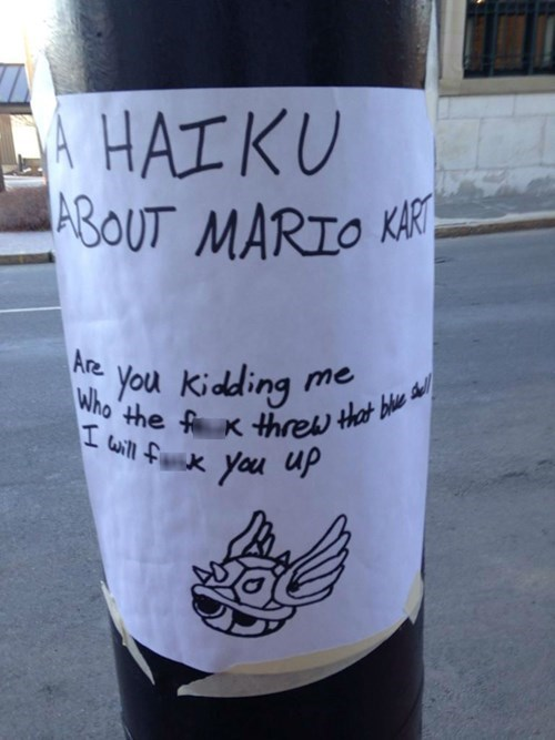 rage blue shell Mario Kart haiku - 8398628864
