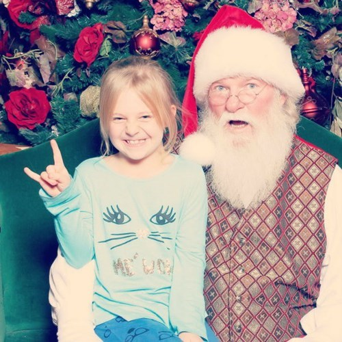 christmas,kids,expression,parenting,santa,throw up the horns