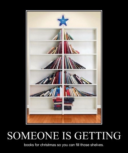 books,christmas tree,funny,sparse
