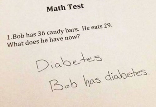school,diabetes,math test,math,candy bars