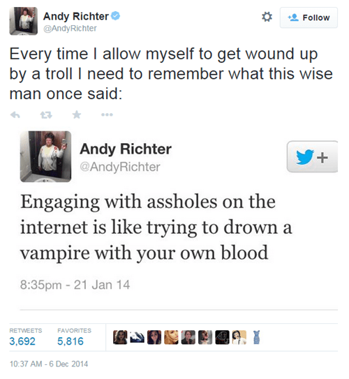 twitter,andy richter,wisdom,trolling,failbook,g rated