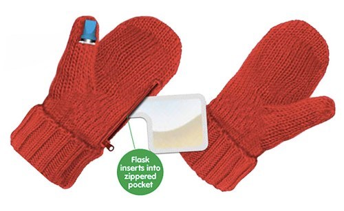 mittens cold hidden flask funny after 12