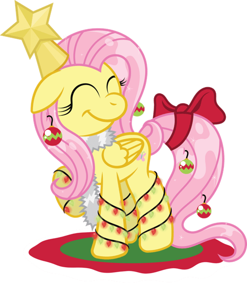 christmas tree,fluttershy,ornaments