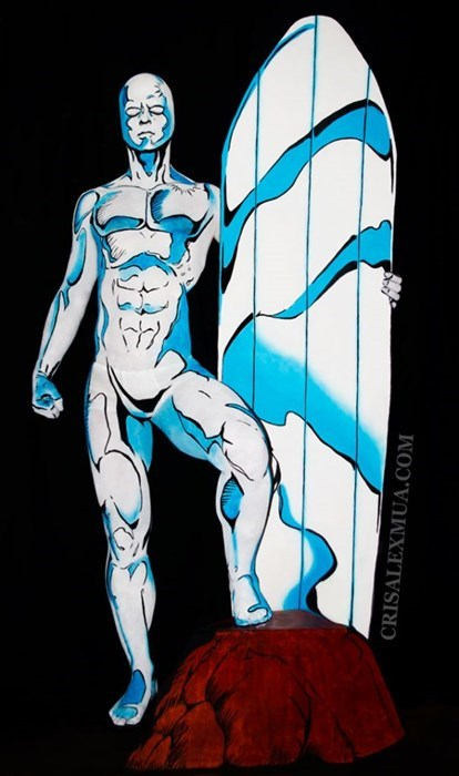 silver surfer,comics,body paint,superheroes,illusion