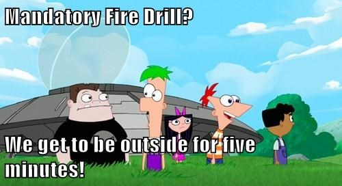 Mandatory Fire Drill?  We get to be outside for five minutes!