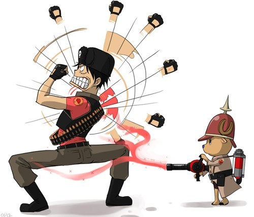 crossover,anime,Fan Art,one piece,TF2