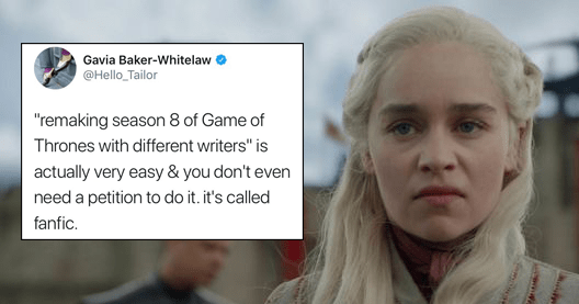 List of tweets roasting Game of thrones petition, petition to remake Game of thrones season 8 with competent writers, game of thrones content, game of thrones tweets, the simpsons, penises, fanfic.