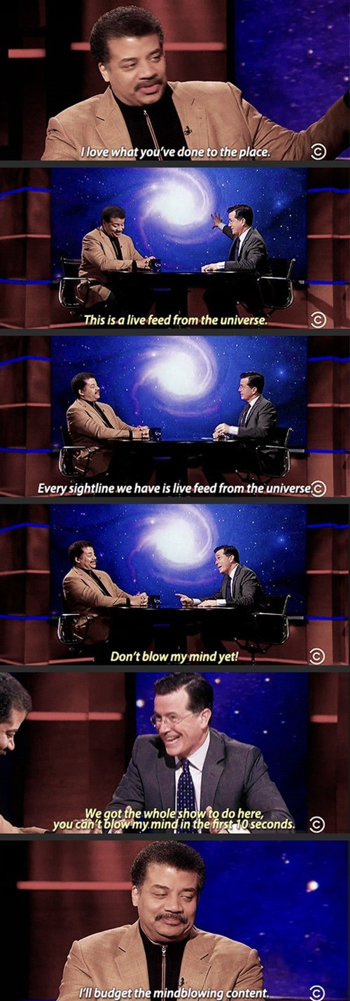 stephen colbert mind blown universe Neil deGrasse Tyson funny - 8401779968