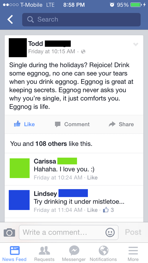 eggnog,christmas,relationships,holidays,failbook,g rated