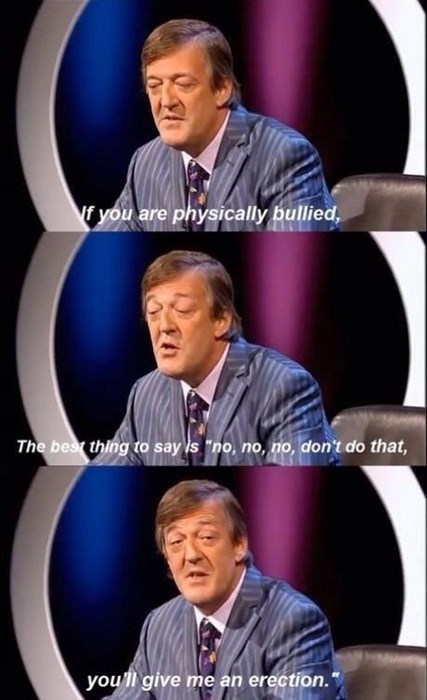 erection,bully,Stephen Fry,no no tubes,funny