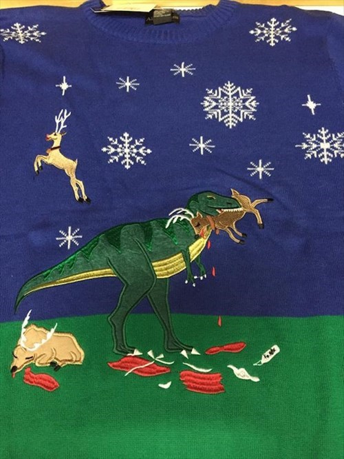 christmas,poorly dressed,sweater,christmas sweaters,dinosaurs