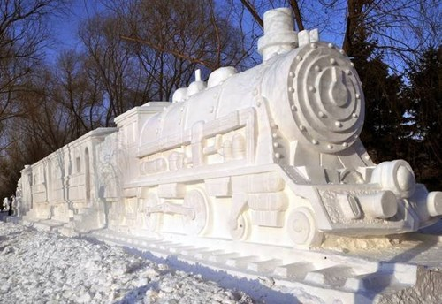 snow,winter,snow sculpture,train