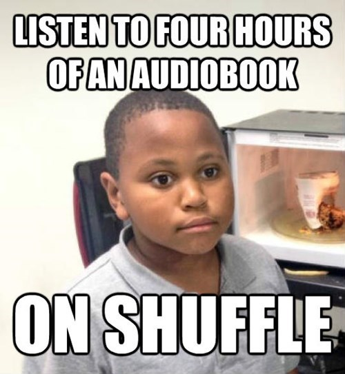 Internet meme - LISTEN TO FOUR HOURS OFANAUDIOBOOK ON SHUFFLE