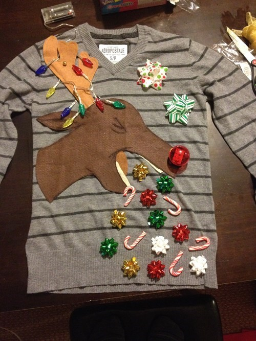 christmas poorly dressed barf christmas sweaters rudolph