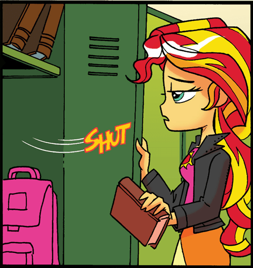 open and shut case,comics,broken,sunset shimmer