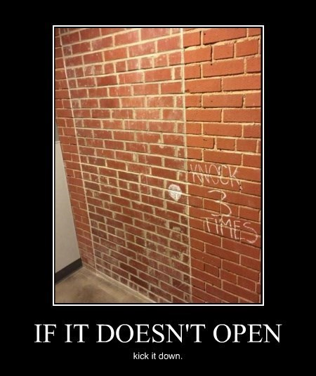 brick,door,funny,wall