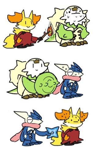 Pokémon Fan Art starters super effective - 8404449536