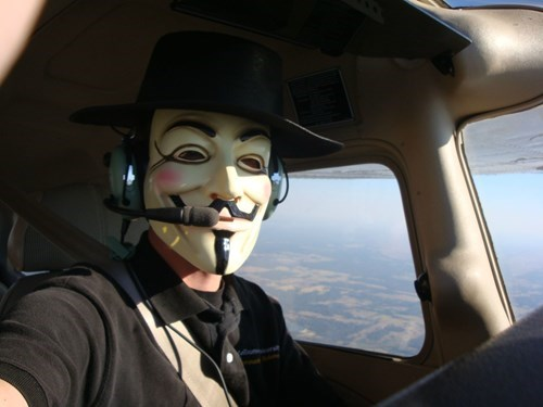 anonymous Guy Fawkes planes pilots fedoras flying - 8404451072