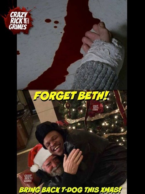 christmas beth greene t-dog santa claus hershel greene - 8404476160