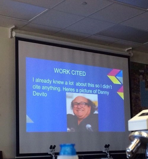 class,school,powerpoint,works cited,danny devito