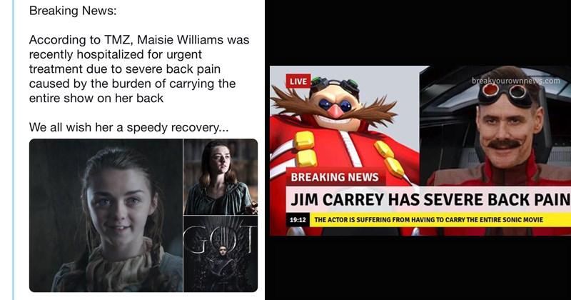 twitter funny memes severe back pain funny tweets K Pop BTS trending memes James Charles Game of Thrones arya stark Maisie Williams - 8404997