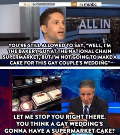 cake,supermarket,gay marriage,jon stewart,wedding,gay,funny