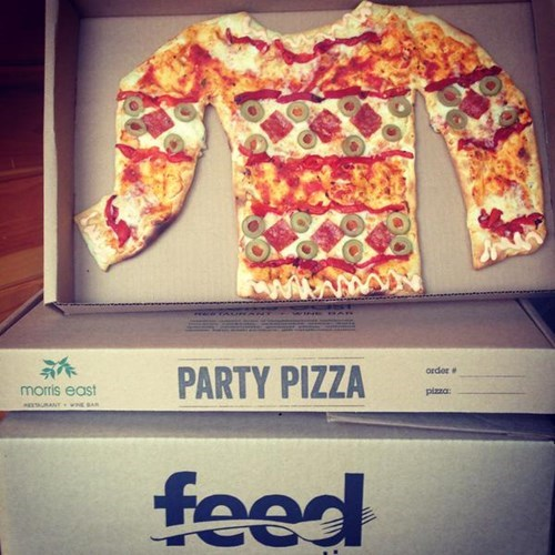 poorly dressed pizza sweater