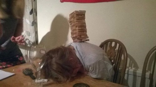 drunk,passed out,jenga,funny