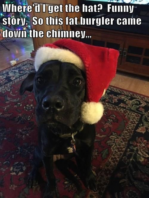 Where'd I get the hat? Funny story. So this fat burgler came down the chimney,,,