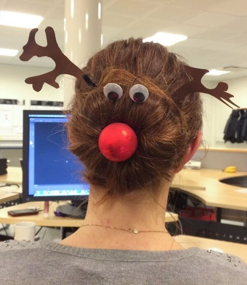 christmas hair reindeer poorly dressed rudolph googly eyes g rated - 8405905152
