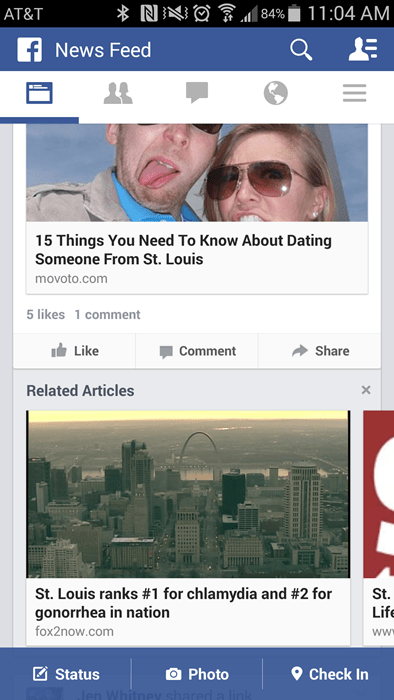 Image grab from a phone about an article about dating being bad in St. Louis and a related-article under it which reveals a high level of STDs.