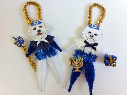dogs,hannukah,ornaments,cute,etsy